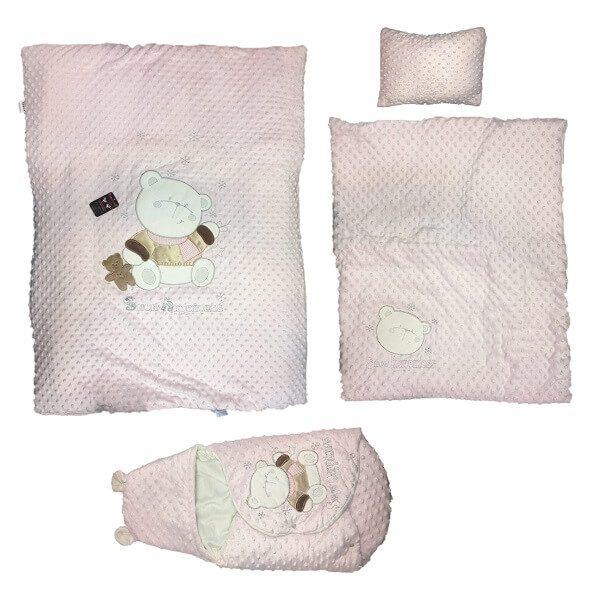 pegasus giz uyju seti 4 600x600 - سرویس خواب پگاسوس صورتی طرح خرس همراه با قنداق فرنگی (دم دستی)