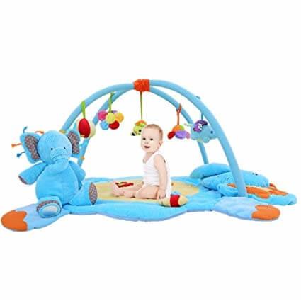 elephent new play gum 5 - تشک بازی همراه با عروسک پولیشی فیل برند babyhugs