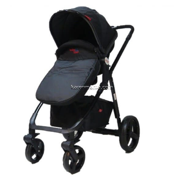blacks babyland c31l new 2 600x600 - ست 2 تکه کالسکه  babyland بیبی لند مدل c31l تمام مشکی