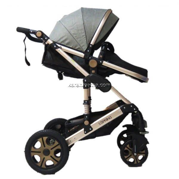 en9688 stroller gey gold 0129 600x600 - ست کالسکه espring اسپرینگ مدل 9688 رنگ gold-grey