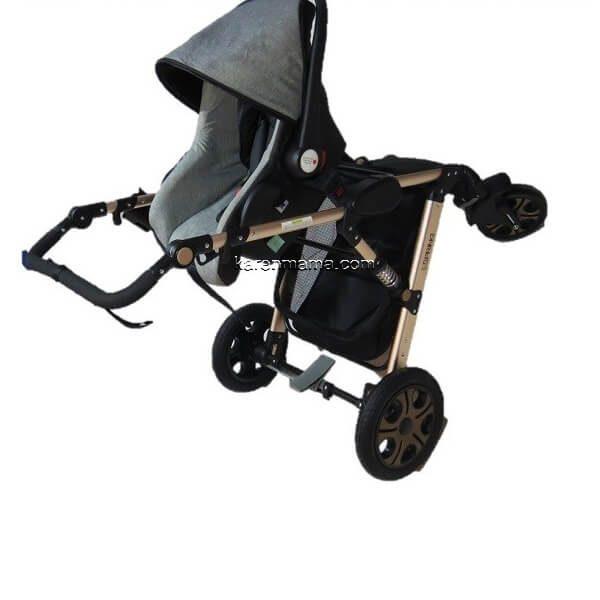 en9688 stroller gey gold 0142 600x600 - ست کالسکه espring اسپرینگ مدل 9688 رنگ gold-grey